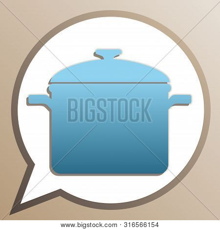 Cooking Pan Sign. Bright Cerulean Icon In White Speech Balloon At Pale Taupe Background. Illustratio
