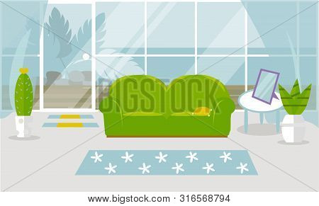 Modern Living Room Interior. Vector Banner. Design Of A Cozy Room With A Sofa, A Coffee Table, Flowe