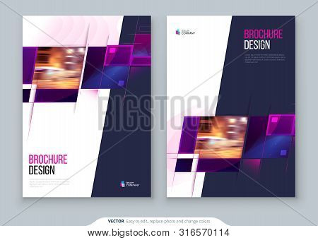 Purple Brochure Cover Template Layout Design. Corporate Business Annual Report, Catalog, Magazine, F