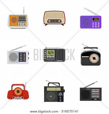Radio Tuner Icon Set. Flat Set Of 9 Radio Tuner Vector Icons For Web Design Isolated On White Backgr