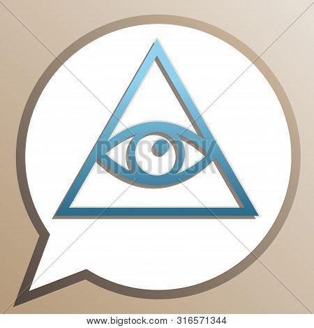 All Seeing Eye Pyramid Symbol. Freemason And Spiritual. Bright Cerulean Icon In White Speech Balloon