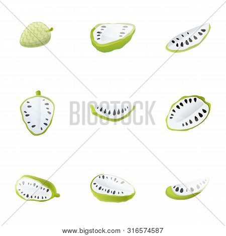 Sweet Soursop Icon Set. Cartoon Set Of 9 Sweet Soursop Vector Icons For Web Design Isolated On White