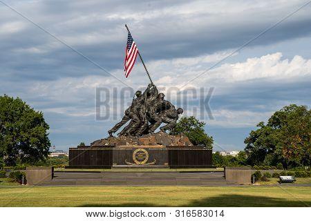 Arlington, Virginia - August 7, 2019: United States Marine Corp War Memorial Depicting Flag Planting