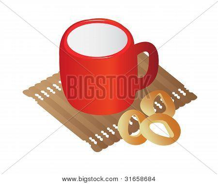 mug with milk and dried
