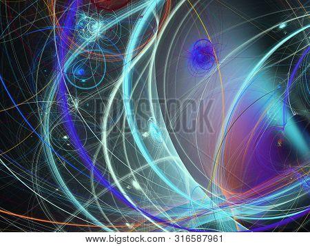 Blue Abstract Fractal Background 3D Rendering Illustration