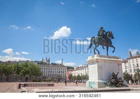Lyon, France - July 14, 2019: Roi Louis Xiv Statue On The Place Bellecour Square, In Downtown Lyon,