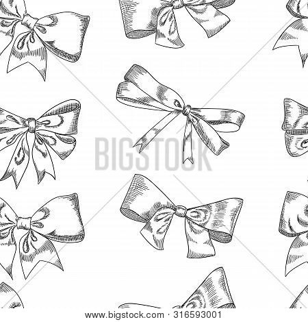Bow Sketch Isolation On A White Background, Vector Illustration.