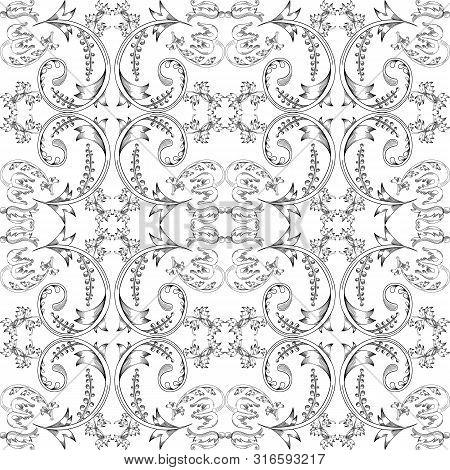 Vintage Seamless Pattern. Floral Elements For Design Monograms, Invitations, Frames, Menus And Label