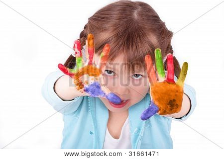 Little Girl Shows Off Her Colored Hands