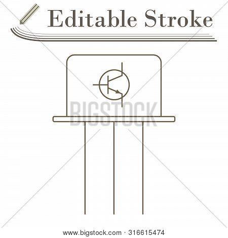 Transistor Icon. Editable Stroke Simple Design. Vector Illustration.