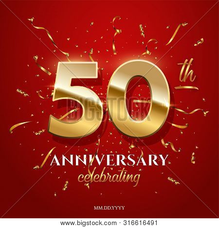 50 Golden Numbers And Anniversary Celebrating Text With Golden Serpentine And Confetti On Red Backgr