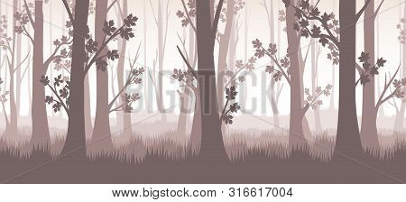 Forest Twilight Vector Illustration. Trees And Branches Horizontal Seamless Pattern, Misty Wood Tree