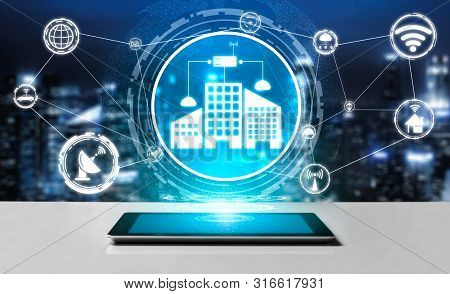 Smart City Wireless Communication Network With Graphic Showing Concept Of Internet Of Things (iot) A