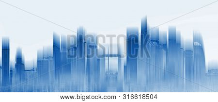 Futuristic Skyscraper Building City Skyline, With Glowing Blue Light. Abstract City Background