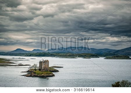 Castle Stalker, Appin, Scotland - 9th May 2019. Castle Stalker, Built In 1446, Stands On A Small Roc