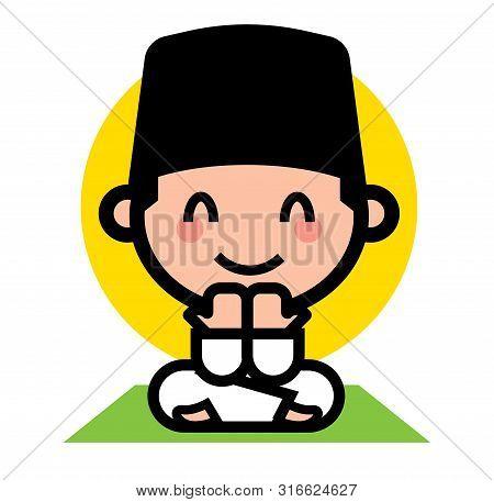 Selamat Hari Raya Aidilfitri. Cute Muslim Kid Praying. Muslim Cartoon Character Wearing Songkok. - V