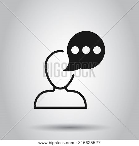 Man Head Mind Thinking Icon In Transparent Style. Speech Bubble With People Vector Illustration On I