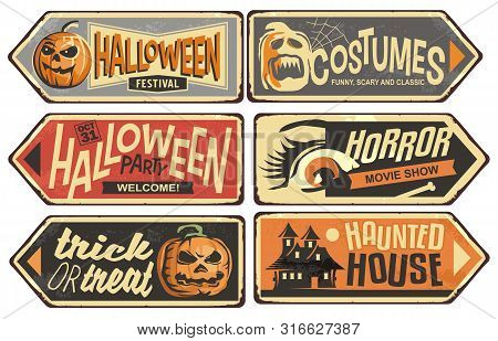 Halloween Signs Collection. Vintage Vector Signpost For Halloween Festival, Costumes Shop, Horror Mo