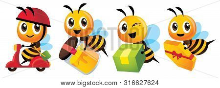 Cartoon Cute Bee Mascot Set. Cartoon Cute Bee Deliver Product Set. Cute Bee Ride Scooter, Cute Bee C