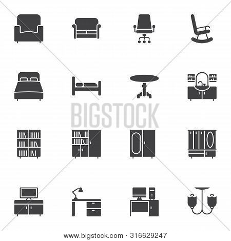 Furniture Vector Icons Set, Modern Solid Symbol Collection, Filled Style Pictogram Pack. Signs, Logo