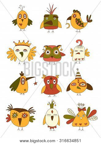Set Of Quirky Crazy Birds. Hand Drawn Vector Illustration.
