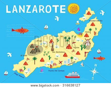 An Illustration Of The Island Of Lanzarote, Part Of The Spanish Canary Islands And Popular Holiday D