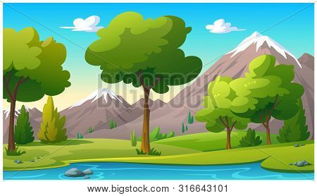 Vector Illustration Mountain And Sky Color Bright.