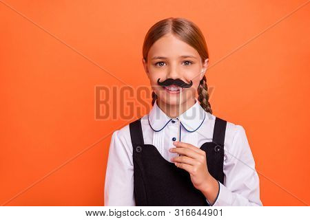 Close-up Portrait Of Her She Nice Attractive Winsome Charming Cute Cheerful Cheery Humorous Pre-teen