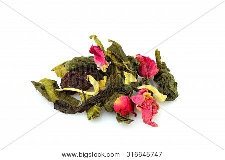 Tea with roses and berries. Dry flowers,leaves and herbs. Isolated on white background. poster
