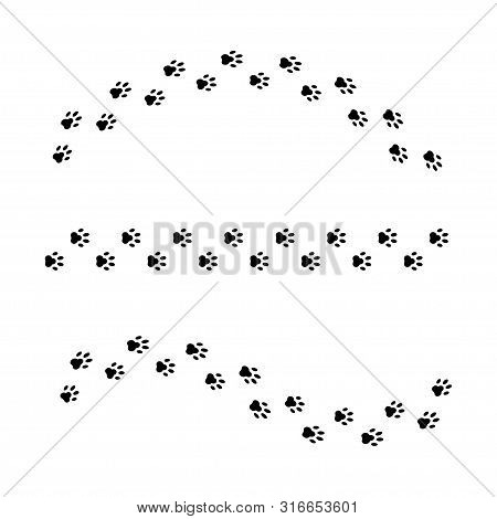 Set Of Vector Isolated Paws Or Dog Print. Animal Vector Paws Or Prints Dog Or Cat. Walk Print Curved