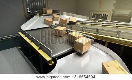 Modern Sorting System Conveyor Concept Cardboard Boxes On Conveyor 3d Render
