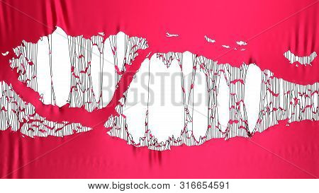 Red Torn Fabric 3d Render Image Background