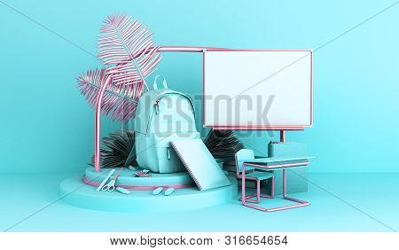 Back To School Styled Flat Lay Scene With Multicolored School Supplies 3d Render