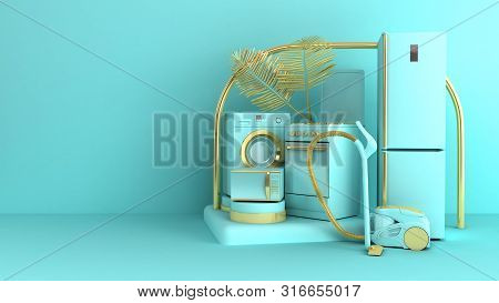 Minimal Simple Home Appliances Background Sales Trade Concept On Pastel Color Background For Copy Sp