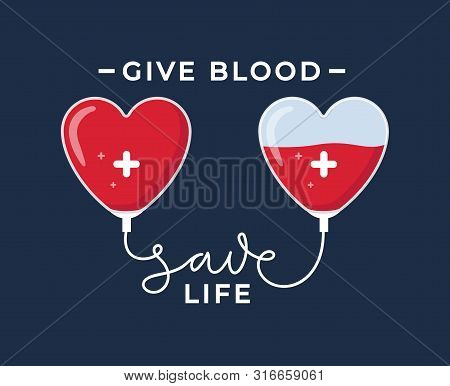 Give Blood Save Life Poster Vector Illustration. Heartshaped Droppers With White Cross Tied With Ano