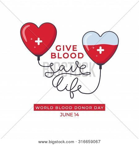 World Blood Donor Day Design Poster Vector Illustration. Heartshaped Droppers With White Cross Tied