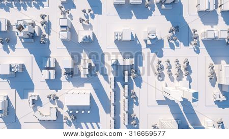 Bird view aerial shot of city streets on sunset. 3D render