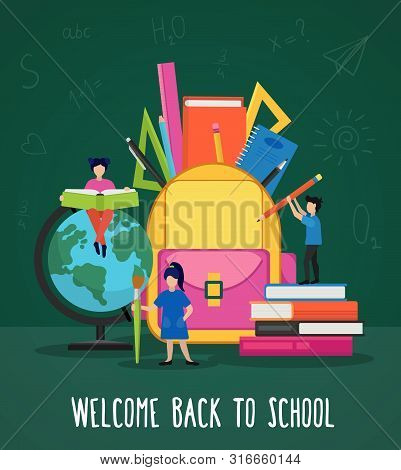 Welcome Back To School Poster Vector Illustration. Cartoon People Hold Book, Pencil And Pen And Stas