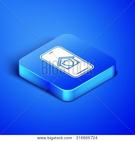 Isometric Mobile phone with house under protection icon isolated on blue background. Protection, safety, security, protect, defense concept. Blue square button. Vector Illustration poster