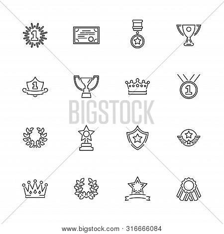Awards, Trophy Outline Icons Set - Black Symbol On White Background. Money And Finance Simple Illust