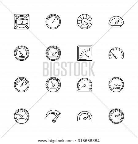 Speedometer, Odometer, Tachometer Outline Icons - Black Symbol On White Background. Simple Illustrat
