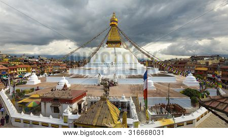 Over View Of Boudhanath Stupa,kthmandu Nepal