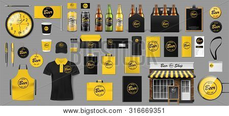 Set Of Realistic Glass Bottle, Packaging Box And Aluminum Can Template Design For Beer Shop. Brewery