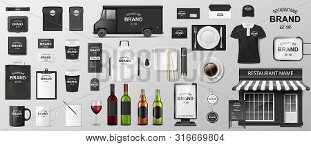 Restaurant Corporate Branding Identity Template. Realistic Mockup Design For Coffee, Cafe, Fast Food