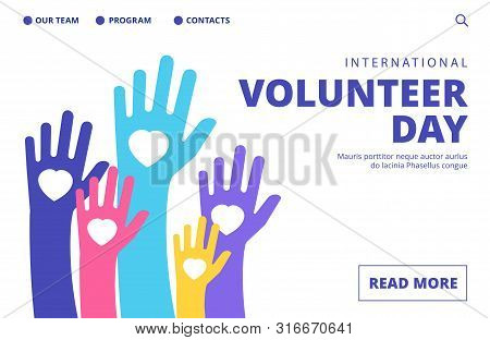 Volunteer Day Landing Page. Vector Volunteering Banner Template. Illustration Volunteer Day Support,