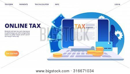 Online Tax Landing Page. Vector Digital Tax Form Web Banner Template. Illustration Of Online Tax Acc