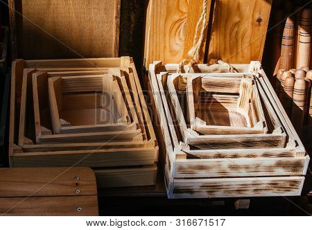 Wooden Crate Boxes For Sale In A Market