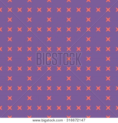 Bright Colorful Geometric Seamless Pattern. Simple Abstract Vector Texture With Small Crosses, Flowe