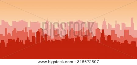 City Sunrise. Contour Of Skyscrapers, Panorama Of The City. Modern Landscape Vector Background For W