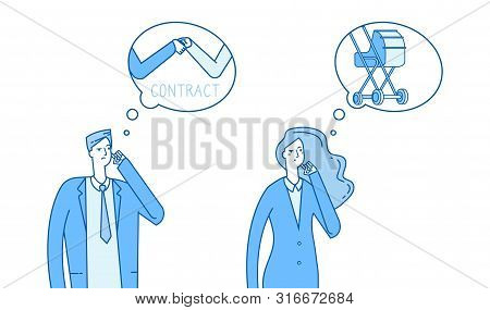 Gender Stereotypes Thinking. Man Thinks About Work, Woman Thinks About Family Vector Illustration. P